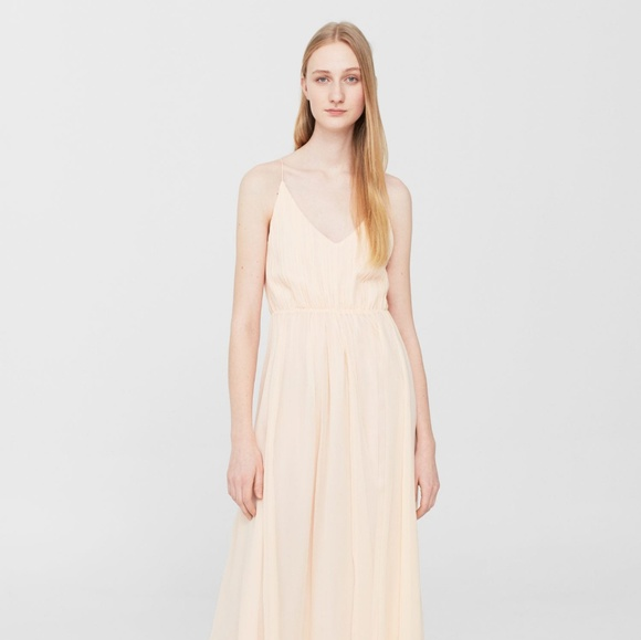 0b6ea140431 🆕Mango Silk Pastel Pink Maxi Dress